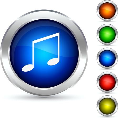 Music detailed button. Vector illustration. Stock Vector - 5304218