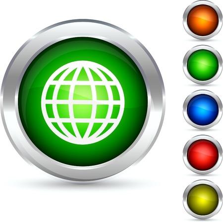Globe detailed button. Vector illustration.  Vector