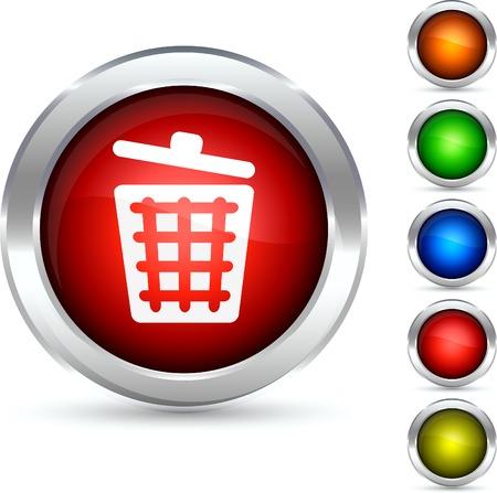 Dustbin detailed button. Vector illustration.  Vector