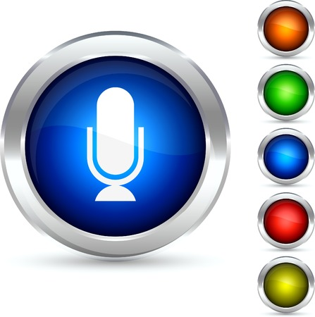 Mic detailed button. Vector illustration. Vector