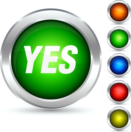 Yes detailed button. Vector illustration.  Vector