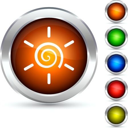 Sun detailed button. Vector illustration.  Vector