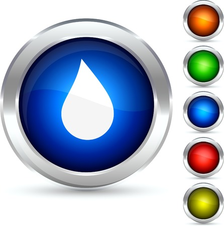 water black background: Drop detailed button. Vector illustration.