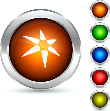 shiny buttons: Star detailed button. Vector illustration.