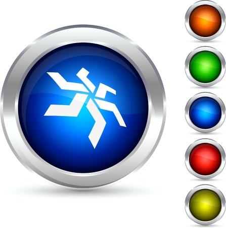 Star detailed button. Vector illustration. Stock Vector - 5341847