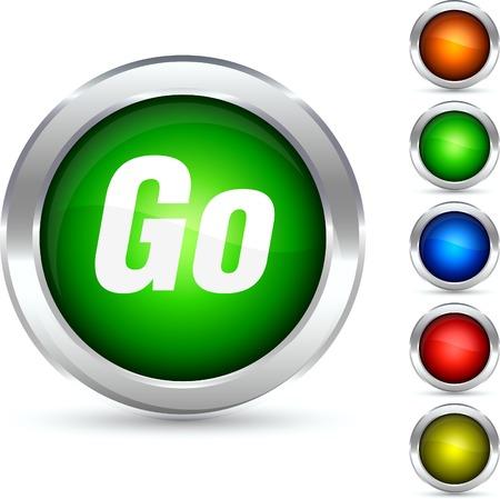 Go detailed button. Vector illustration. Stock Vector - 5341857