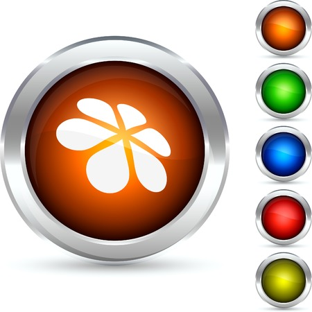 Flower detailed button. Vector illustration.  Stock Vector - 5341855