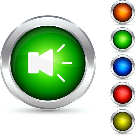Sound detailed button. Vector illustration. Stock Vector - 5341846