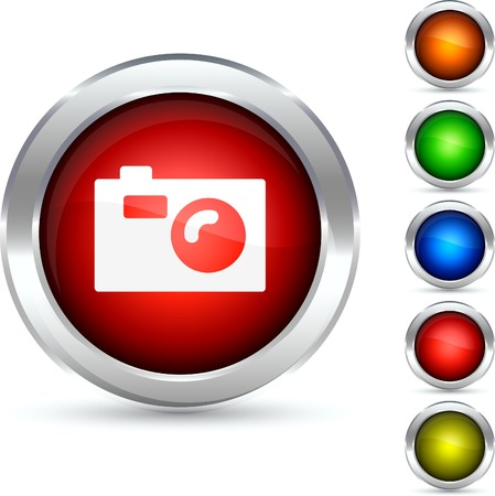 Photo detailed button. Vector illustration.  Stock Vector - 5341849