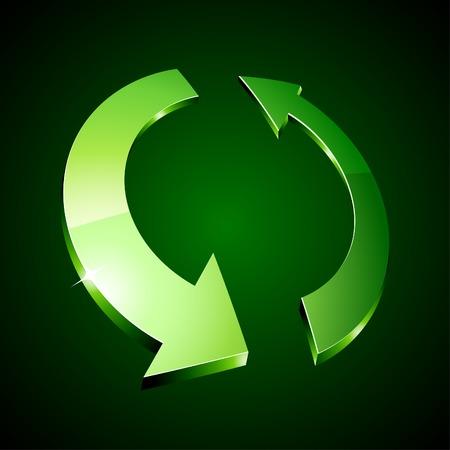 silver circle: 3d riciclare simbolo. Vector illustration. Vettoriali