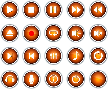 Set of player buttons. Vector. Vector
