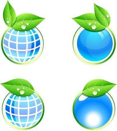 Shiny eco icons. Vector illustration. Stock Vector - 5349926