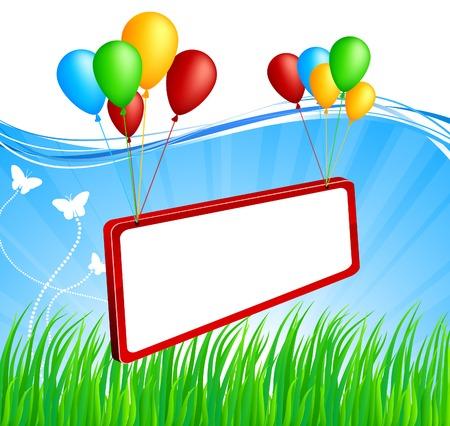 Flying billboard. Vector. Used mesh.   Stock Vector - 5349930
