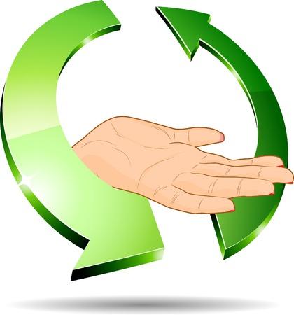 3d ecology hand. Vector illustration. Stock Vector - 5349923