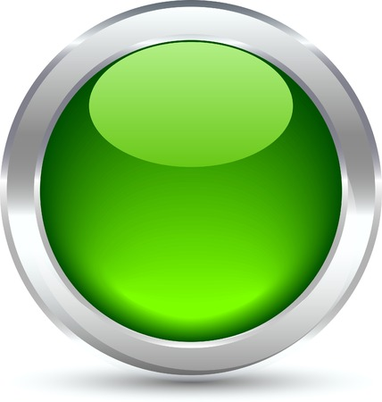 Green shiny button. Vector illustration.  Stock Vector - 5349935