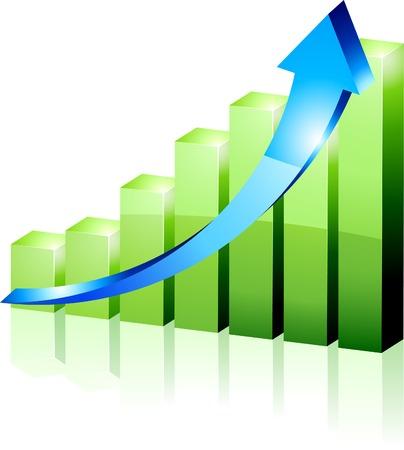 3d groei diagram. Vector illustratie.