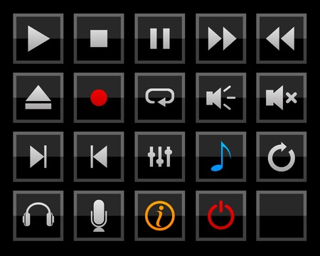 red sound: Set of player buttons. Vector. Illustration