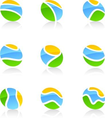 Abstract nature symbols. Vector illustration. Vector