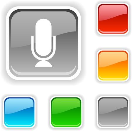 Mic  square button. Used blends.  Stock Vector - 5396224