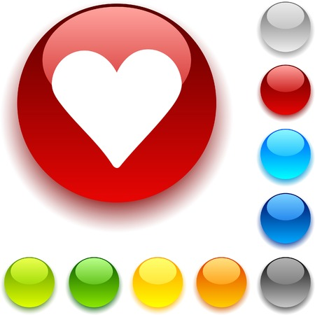 Love shiny button. Vector illustration.  Stock Vector - 5426516
