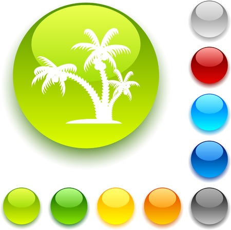 tropical shiny button. Vector illustration.