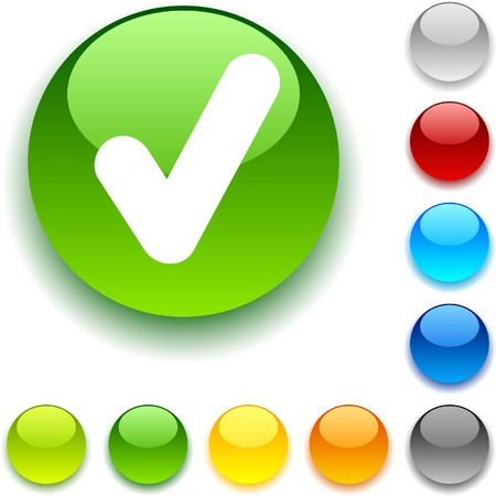 accepting: Check shiny button. Vector illustration. Illustration