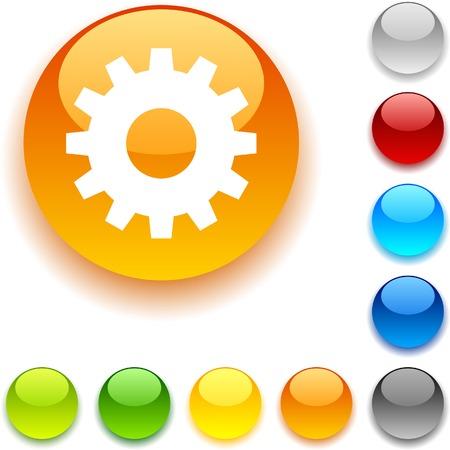 luninous: Gear shiny button. Vector illustration.