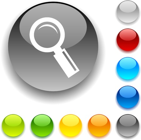 Searching  shiny button. Vector illustration.