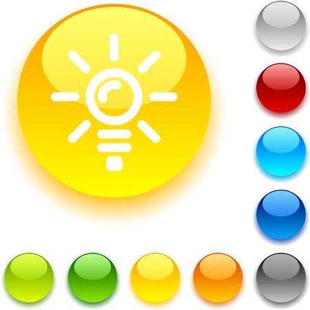 luninous: Bulb  shiny button. Vector illustration.