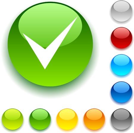 Check shiny button. Vector illustration. Stock Vector - 5432640