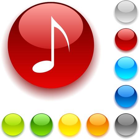 luninous: Music  shiny button. Vector illustration.