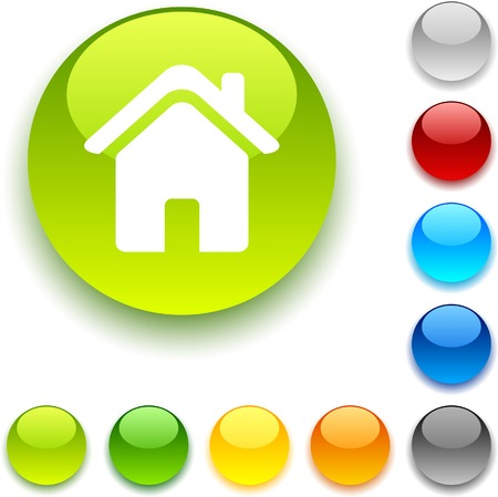 Home  shiny button. Vector illustration.