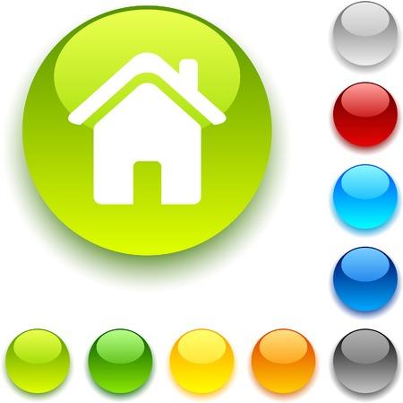 Home  shiny button. Vector illustration.  Stock Vector - 5436346