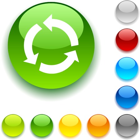 luninous: Recycle shiny button. Vector illustration.
