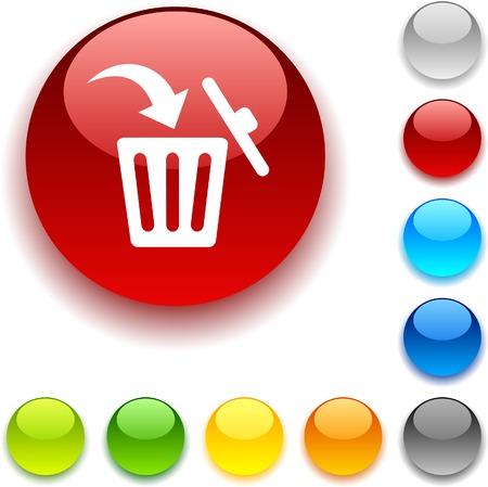 bouton brillant: Supprimer le bouton brillant. Illustration vectorielle.