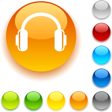 headphones shiny button. Vector illustration.  Vector