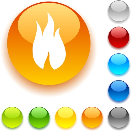 Fire shiny button. Vector illustration.