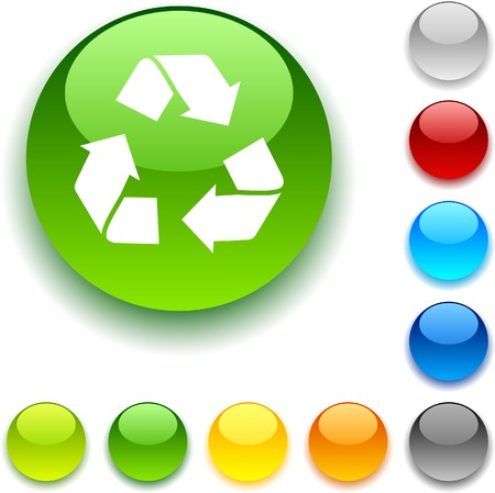 Recycle shiny button. Vector illustration.  Vector