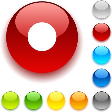 rec:  Rec shiny button. Vector illustration.