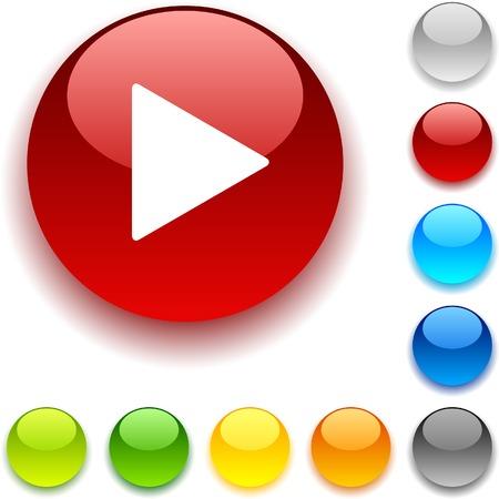 Play shiny button. Vector illustration. Stock Vector - 5457946