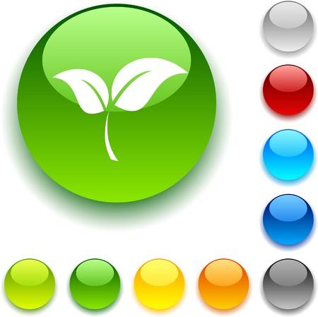 Ecology shiny button. Vector illustration.  Stock Vector - 5457951