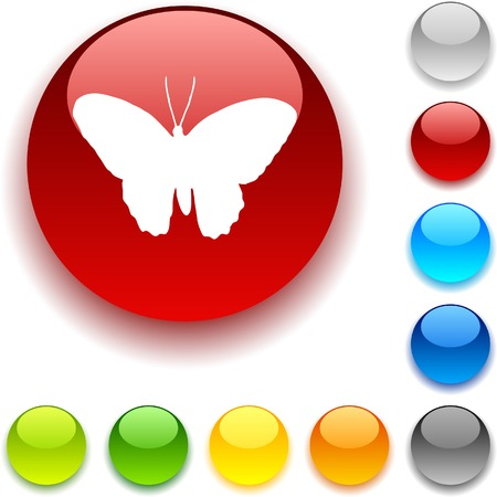 luninous: Butterfly shiny button. Vector illustration.