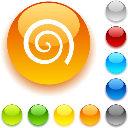 Swirl shiny button. Vector illustration.  Vector