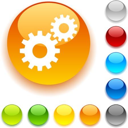 bouton brillant: Bouton Param�tres brillant. Vector illustration. Illustration