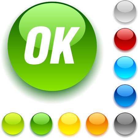 Ok shiny button. Vector illustration.  Stock Vector - 5457958