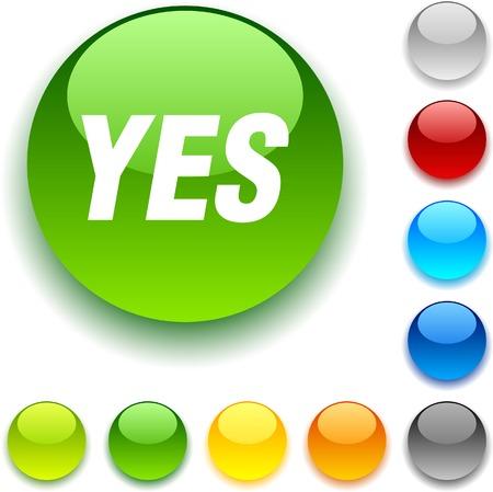 bouton brillant: Oui bouton brillant. Vector illustration. Illustration