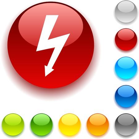 luninous: warning shiny button. Vector illustration.