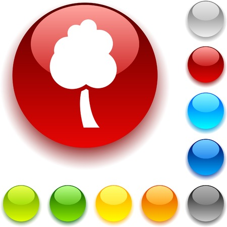 luninous:  tree shiny button. Vector illustration.