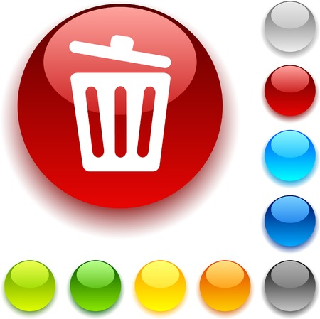 Recycle bin shiny button. Vector illustration.  Illustration