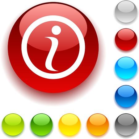 Info shiny button. Vector illustration.  Stock Vector - 5457973